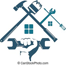 Repair and construction of the house with a tool