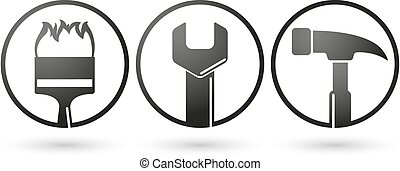 Repairing tools icons vector