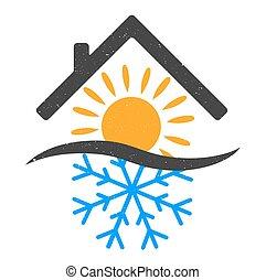 Snowflake and sun home design vector