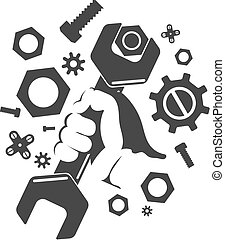 Wrench in hand silhouette, bolts and nuts