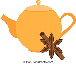 Orange teapot with cinnamon. Vector illustration, icon