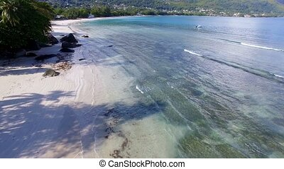 Aerial View Of Ocean, Beach and Mountains On The Tropical Island, Seychelles 3