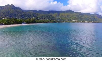 Aerial View Of Ocean, Beach and Mountains On The Tropical Island, Seychelles 4