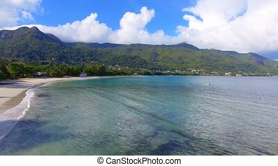 Aerial View Of Ocean, Beach and Mountains On The Tropical Island, Seychelles 2