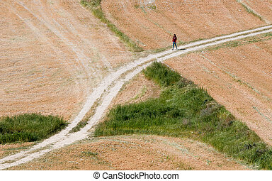 Teenage girl walking on a country road