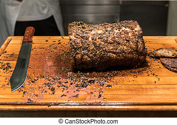 Carving Wagyu beef - Carving of Wagyu beef roast