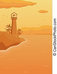 Sea background with waves and lighthouse. Vector flat illustration.