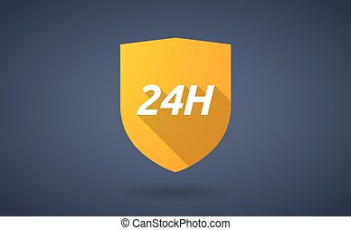 Long shadow shield with the text 24H - Illustration of a...