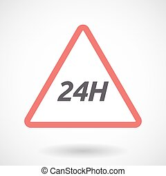 Isolated warning signal with the text 24H - Illustration of...