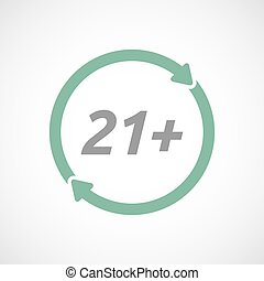 Isolated reuse sign with the text 21+ - Illustration of an...