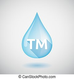 Long shadow water drop with    the text TM