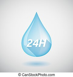 Long shadow water drop with the text 24H - Illustration of a...