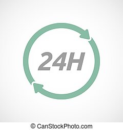Isolated reuse sign with the text 24H - Illustration of an...
