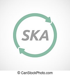 Isolated reuse sign with the text SKA - Illustration of an...