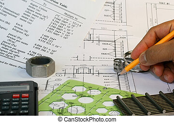 Mechanical Engineer drafting works with parts and formulas