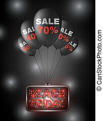 Black Friday sign on balloons.