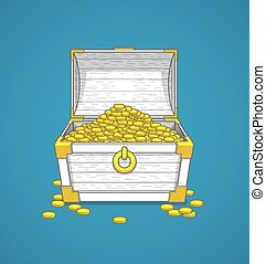 Pirates trunk chest full of gold coins treasures. Vector...