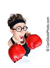 fear has big eyes - Funny skinny boxer man. Sports and...
