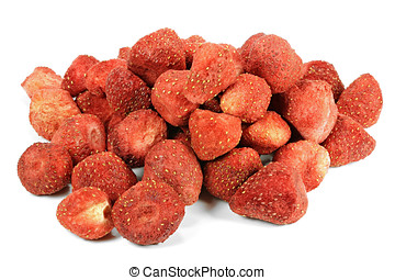 freeze-dried strawberries isolated on white background