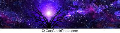 Purple Landscape - Deep color sky and tree