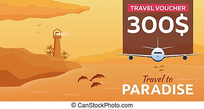 Travel voucher. Sea travel. Summer time. Sea background with...