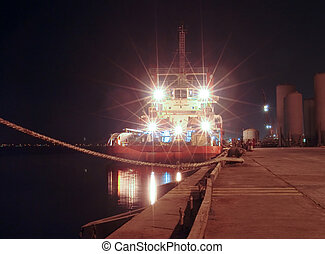 Offshore boat-night view - Berthed offshore vessel