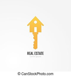 House key concept - Golden Key with house sill Symbol of the...