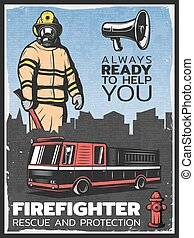 Vintage Firefighting Colorful Poster - Vintage firefighting...