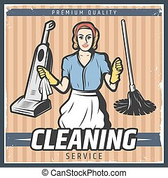 Vintage Cleaning Poster - Vintage cleaning poster with maid...