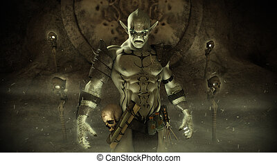 Orc warlock character - Magical Orc warlock character