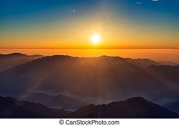 Sunrise landscape in Huangshan National park. - Winter...