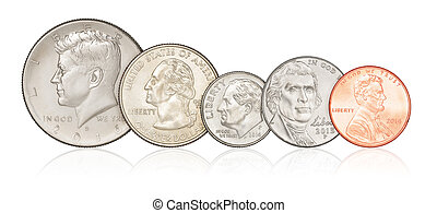Set of US coins isolated - Set of different US coins...