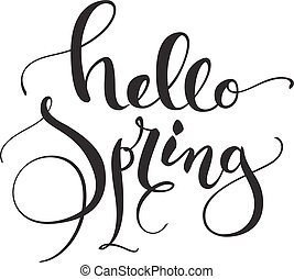 Hello Spring greeting card design with simple stylish...