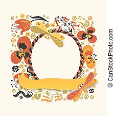 Decorative round frame made of candy cane and yellow ribbon. Various plants, flowers, and cute insects on a floral colorful background. For cards, birthday invitations, banners etc
