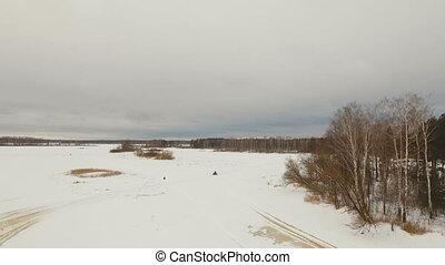 ATV race in the winter season. - ATV race on the snow....