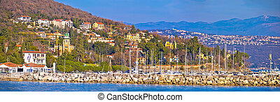 Opatija marina in Icici panoramic view with historic villas,...