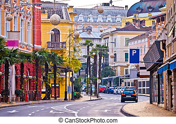 Colorful mediterranean street architecture of Opatija,...