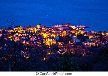 Town of Lovran seafront aerial evening view, Opatija riviera...