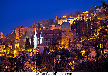Town of Opatija cathedral evening view, Kvarner bay of...