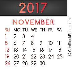 November 2017 calendar vector in a flat style in red tones.