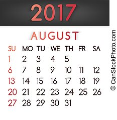 August 2017 calendar vector in a flat style in red tones.