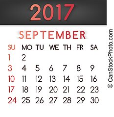 September 2017 calendar vector in a flat style in red tones.
