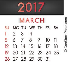 March 2017 calendar vector in a flat style in red tones.