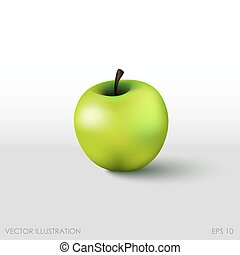 Green apple in a realistic style on  white background