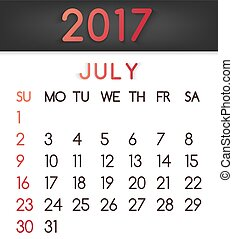 July 2017 calendar vector in a flat style in red tones.