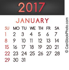 January 2017 calendar vector in a flat style in red tones