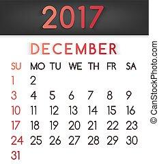 December 2017 calendar vector in a flat style in red tones.