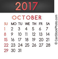 October 2017 calendar vector in a flat style in red tones.