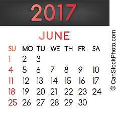 June 2017 calendar vector in a flat style in red tones.