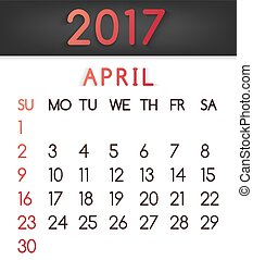 April 2017 calendar vector in a flat style in red tones.